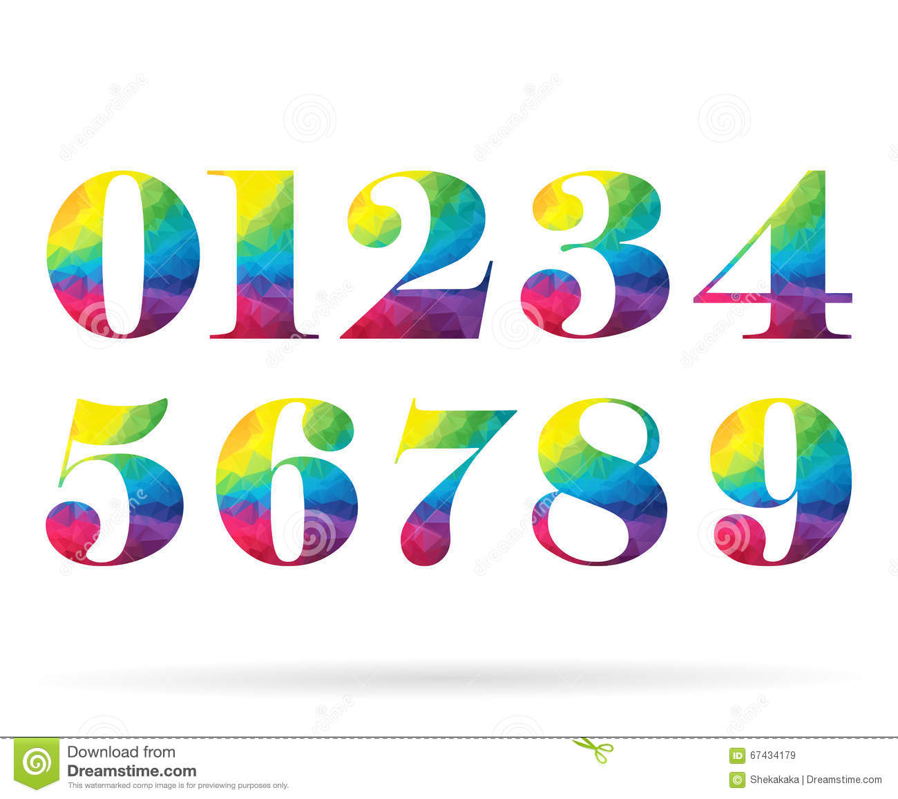 Polygonal Set Rainbow Numbers Collection Stock