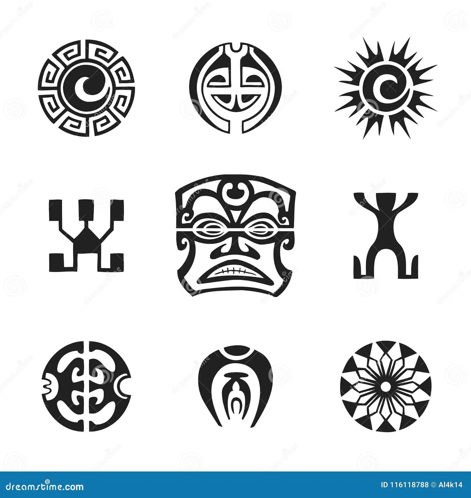 Polynesian Tattoo Indigenous Primitive Art Stock