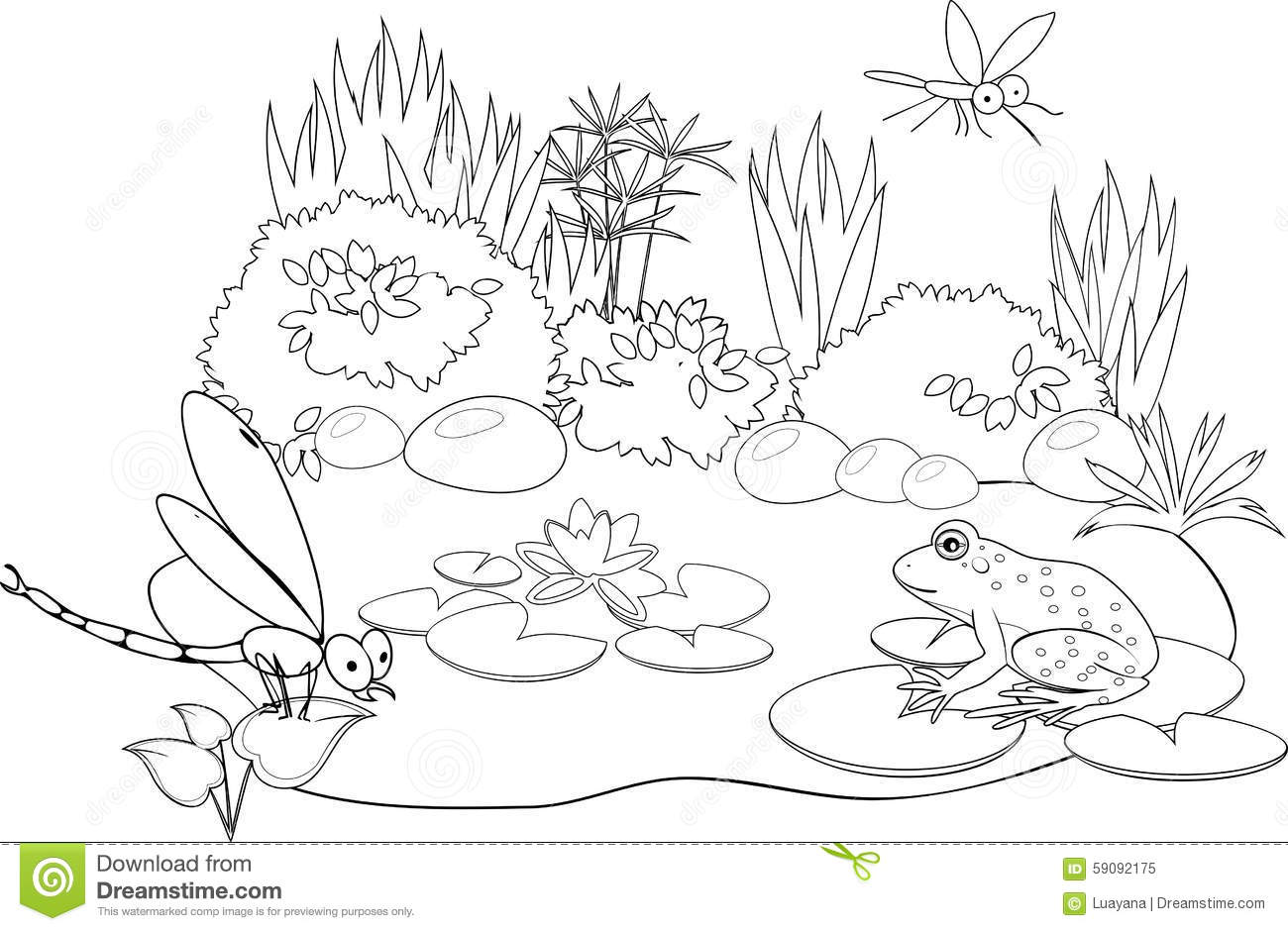 At The Pond Stock Vector