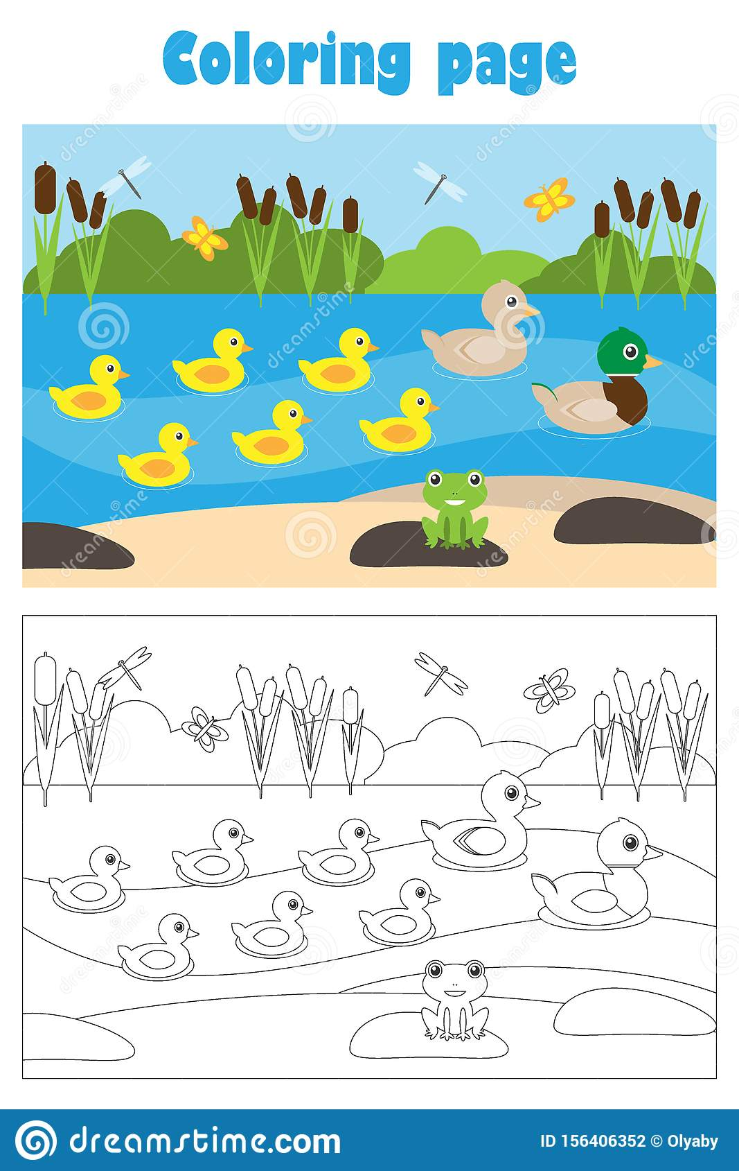 Pond With Ducks Cartoon Style Coloring Page Education