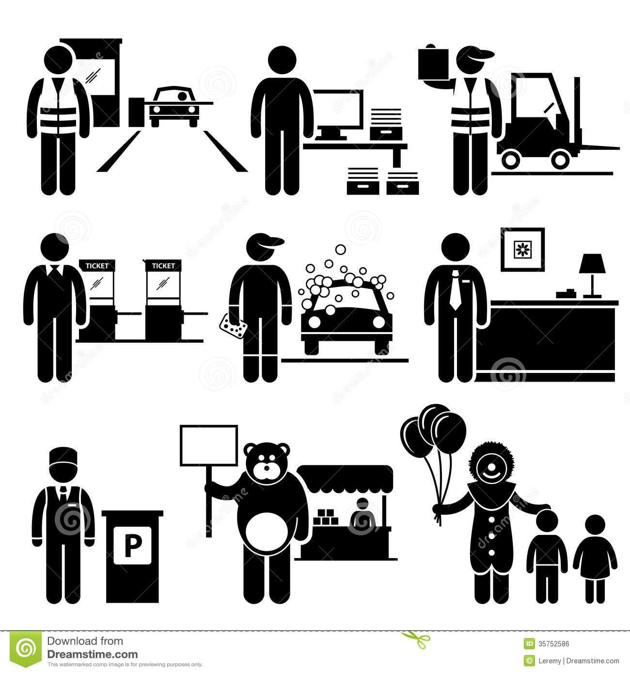 Poor Low Class Jobs Occupations Careers Stock Vector