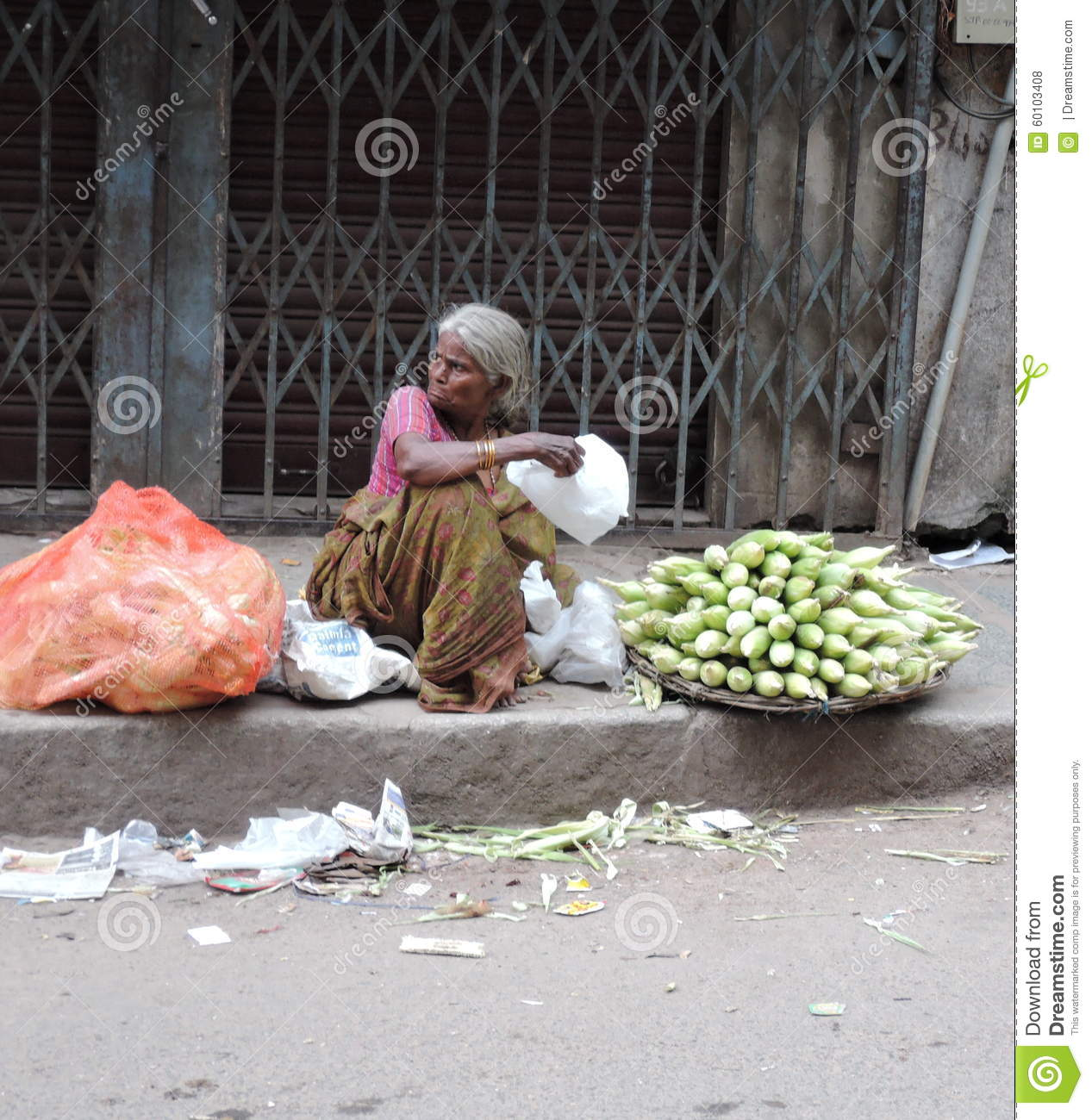 Image of: Disabled Bangalore India September 27 2015 This Photo Of Poor Old Woman Selling Corn Depicts Poor Economic And Inhuman Working Conditions Of People Living In Dreamstimecom Poor Old Woman Selling Corn In The Streets Editorial Stock Photo