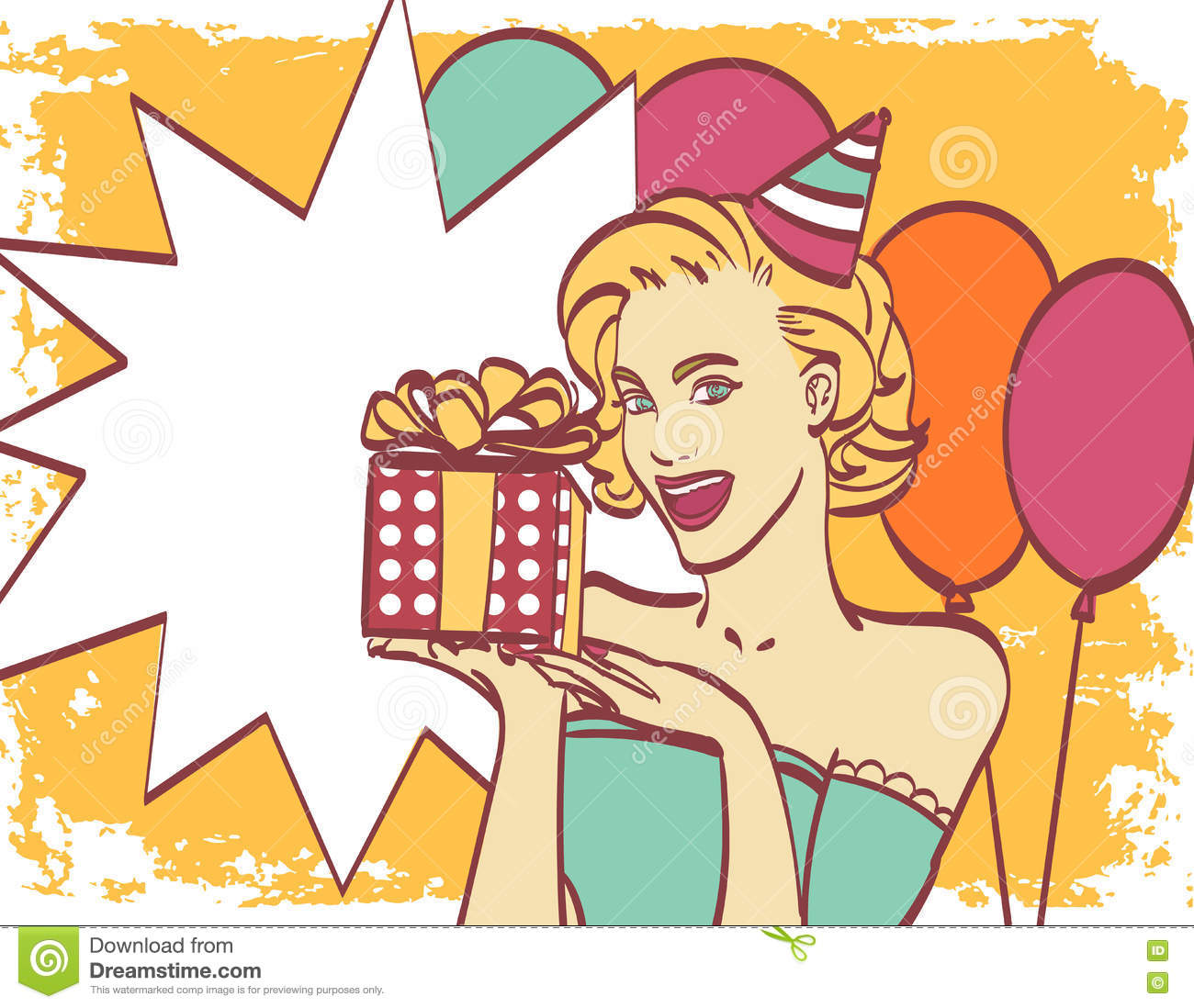 Pop Art Girl With Thought Bubble Party Invitation Birthday Card Hollywood Movie Star Comic Woman Girl Sale Stock Vector Illustration Of Cute Retro 77997568