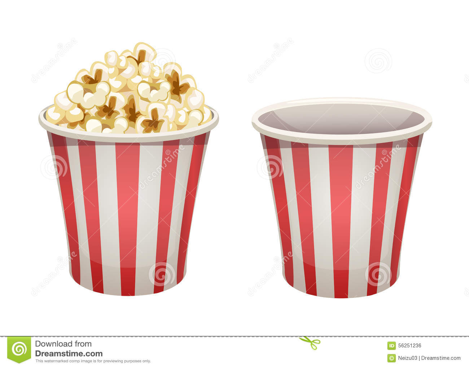 Popcorn Bucket Full And Empty Stock Illustration