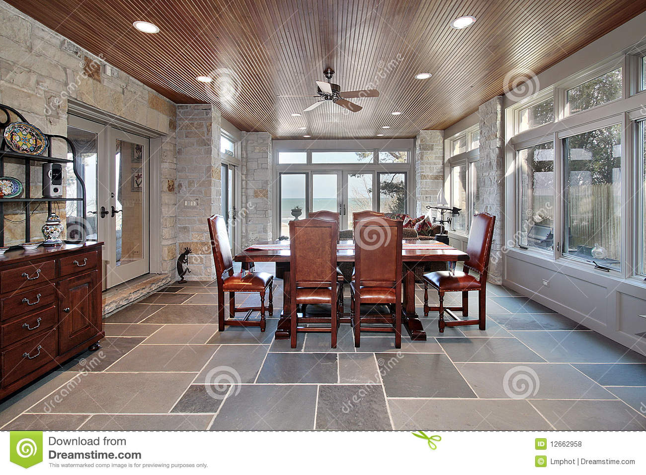 Porch With Stone Walls And Slate Floors Stock Photo