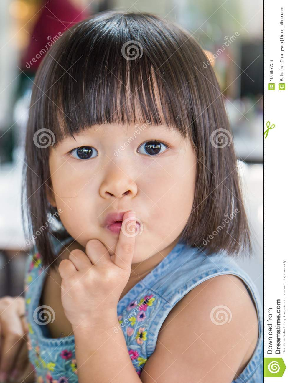 Portrait Of Asian Little Girl Say Be Quiet Small Asian Girl With One Finger On Her Mouth Close Up And Explession