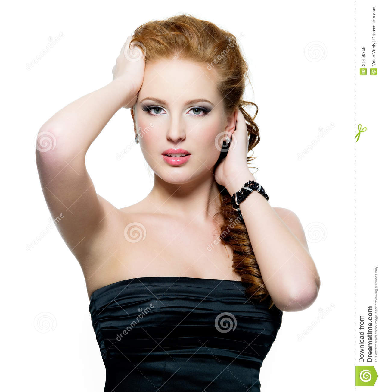 portrait of beautiful glamour red-haired woman royalty free stock