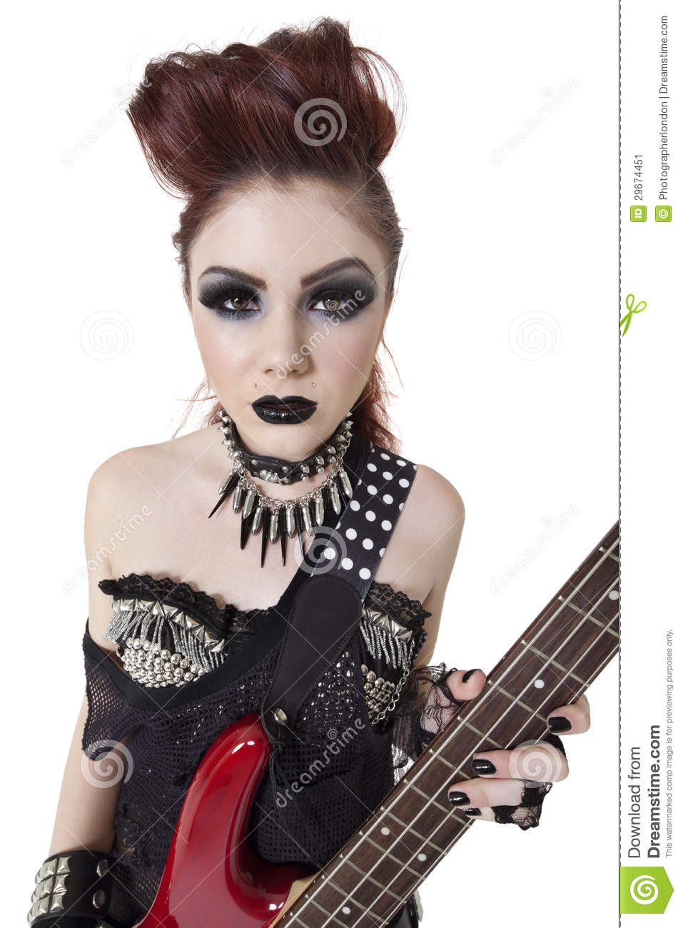 Portrait Beautiful Punk Woman Staring While Holding Guitar