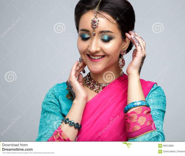 Portrait Of Beautiful Smiling Indian Girl Young Indian Woman Model With Traditional Jewelry Set