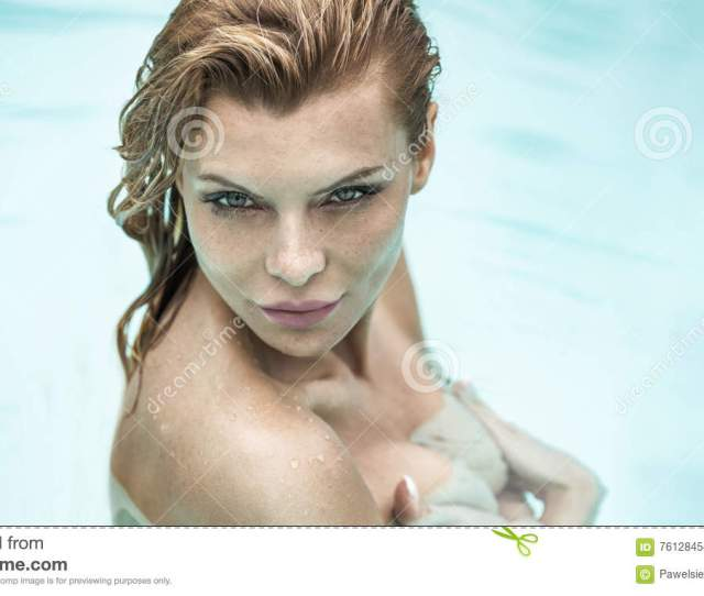 Portrait Of Beautiful Woman Under Shower