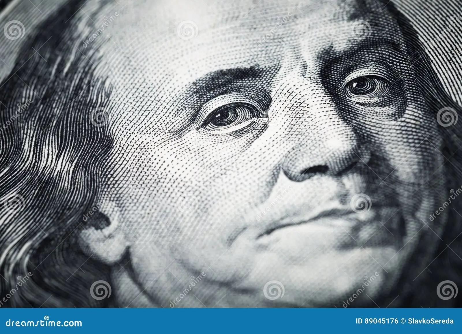 Portrait Of Benjamin Franklin Close Up Shots In Macro Lens