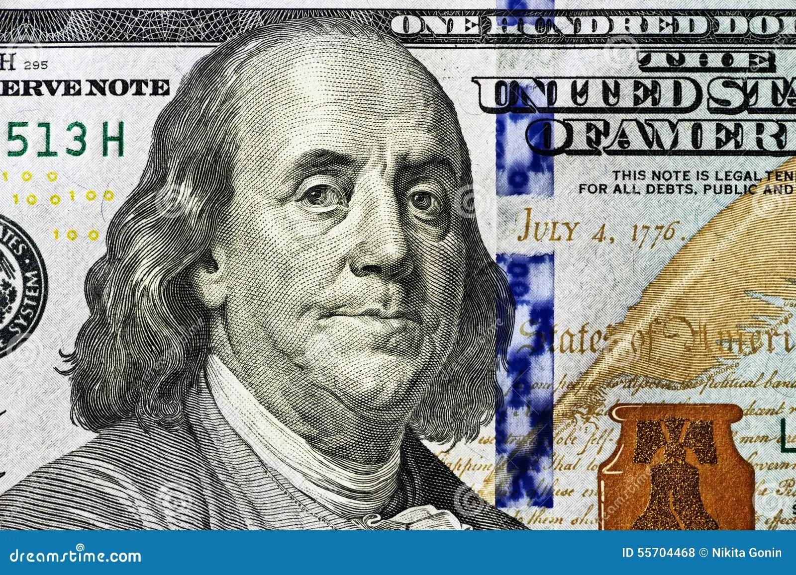 Portrait Of Benjamin Franklin 100 Dollars Close Up Stock