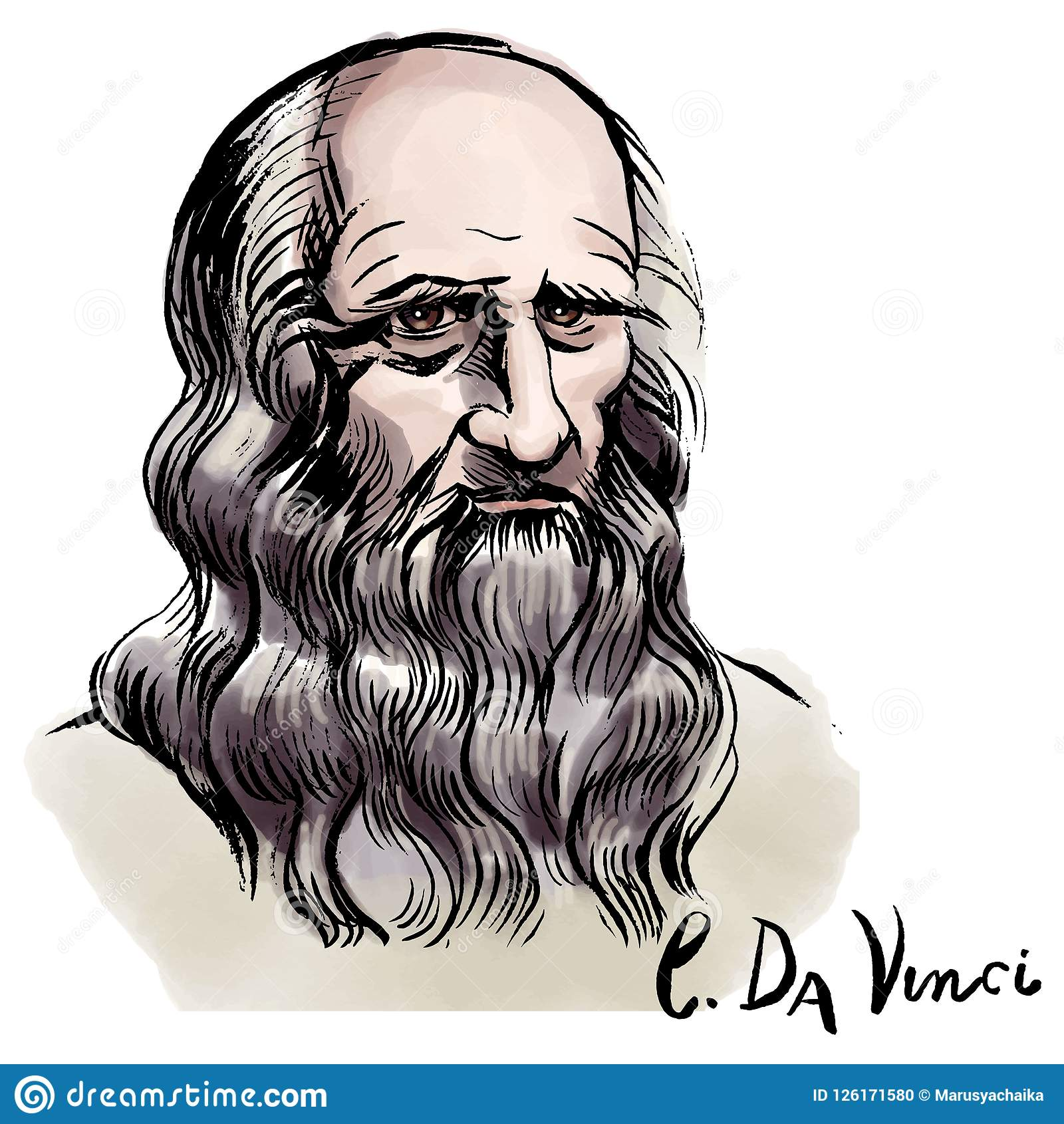 Portrait D Aquarelle De Leonardo Da Vinci Image Editorial