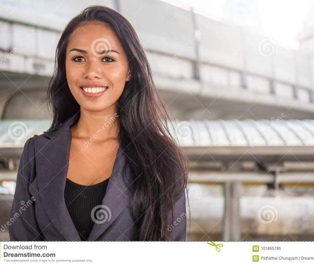 Portrait Of A Happy Successful Mature Asian Business Woman Street Outdoor