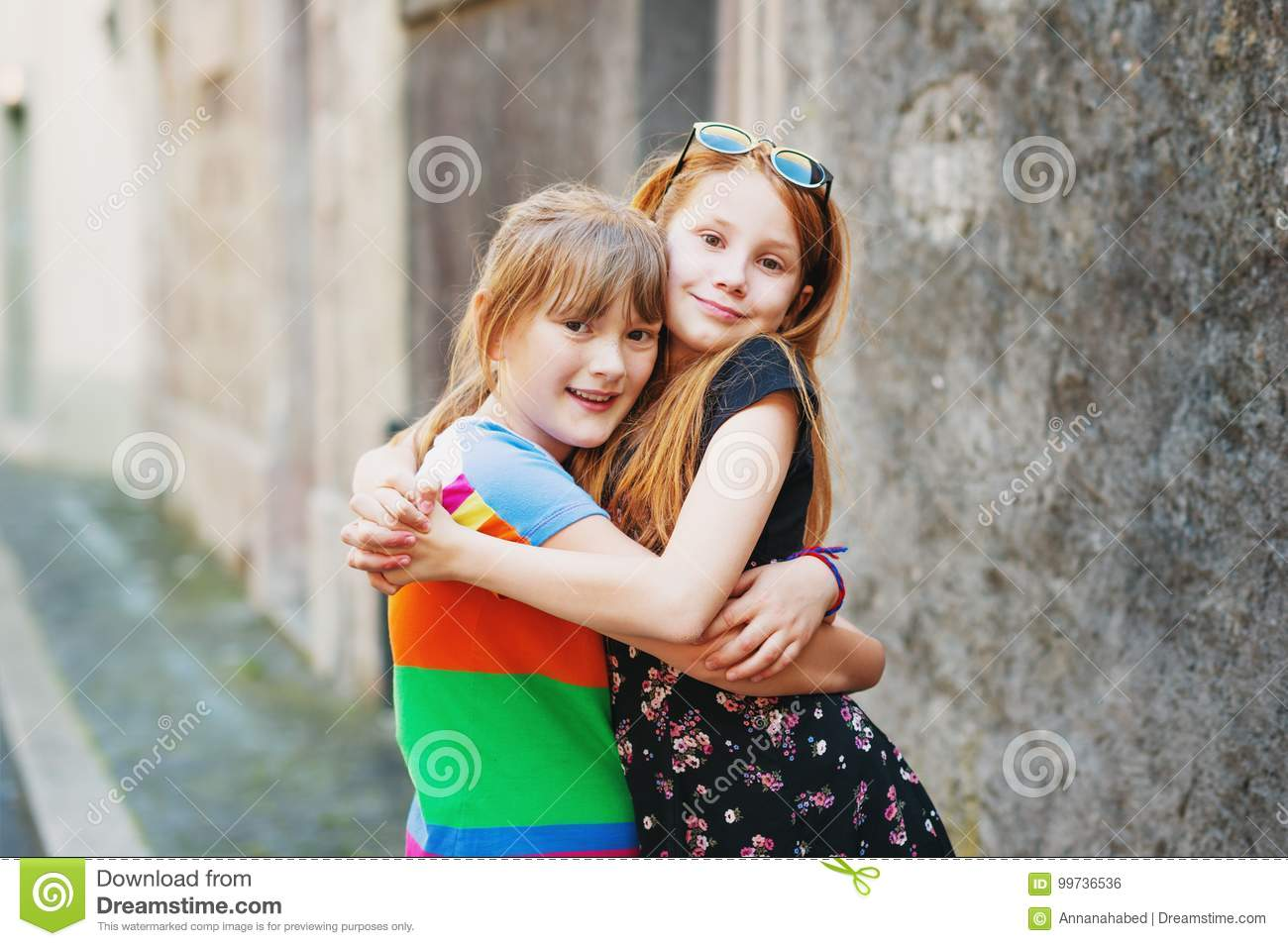 Portrait Of Two Little 10 Year Old Girls Stock Photo