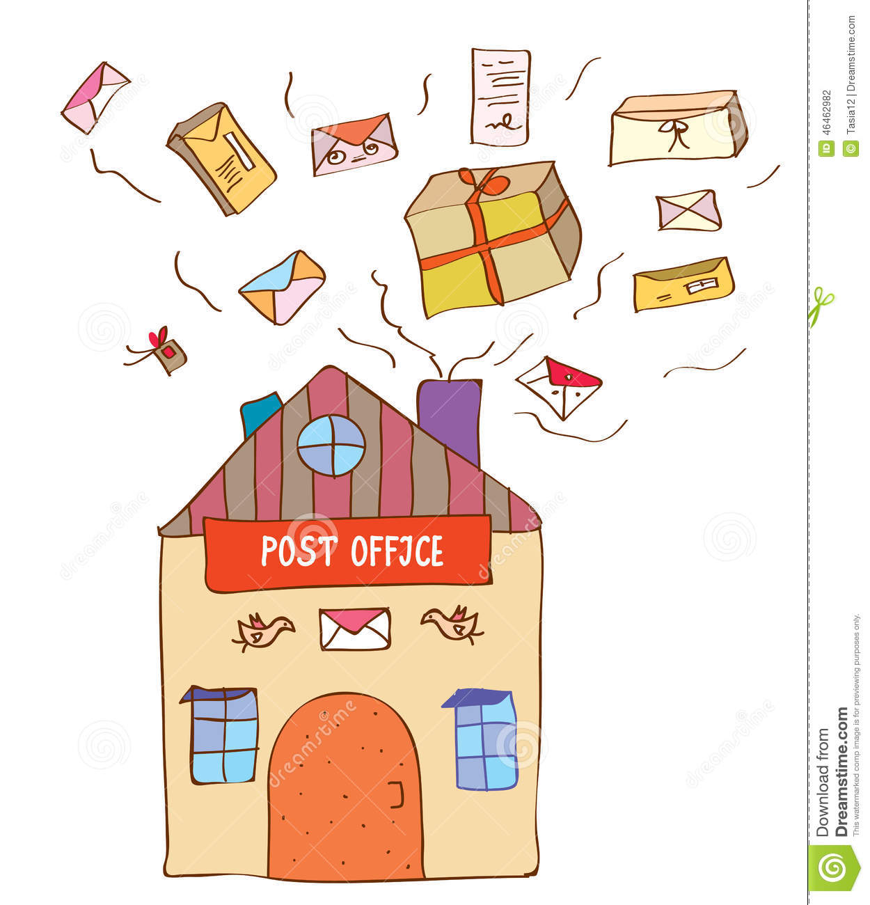 Post Office With Many Letters And Boxes Stock Vector