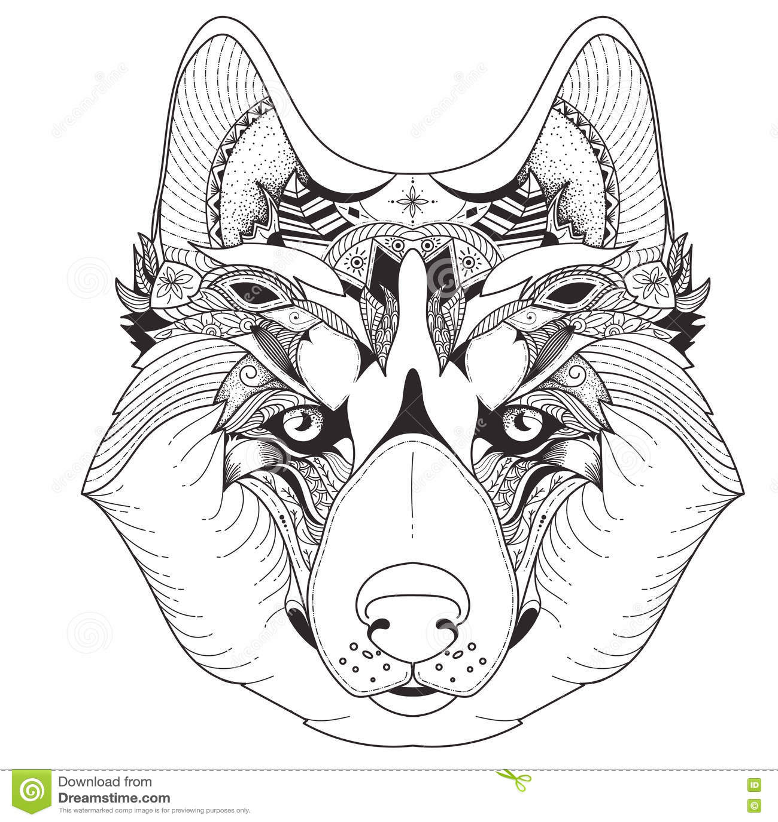 Husky Wolf Dog Vector Patterns Cartoon Vector