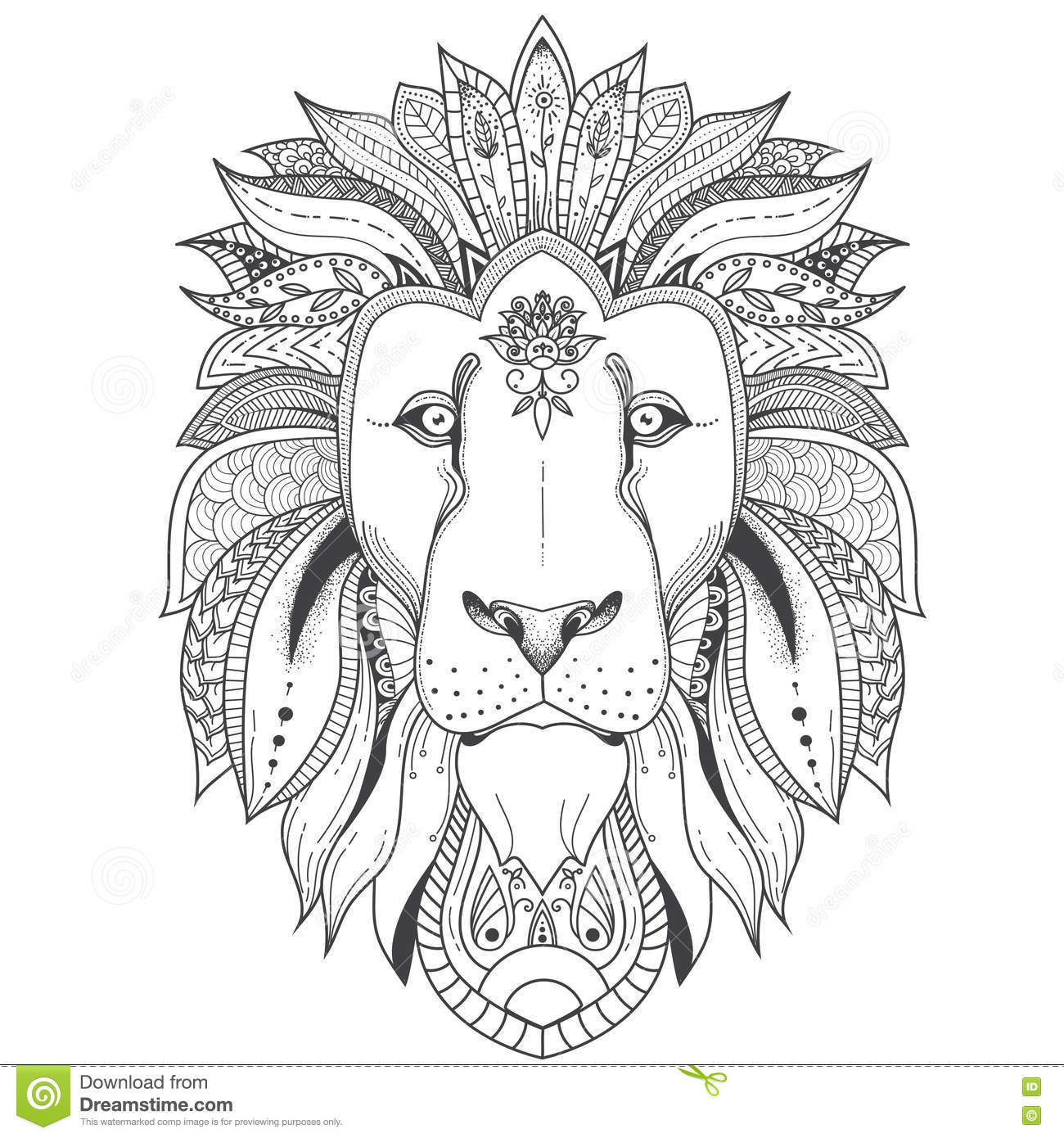 Half Lion Face Drawing Sketch Coloring Page