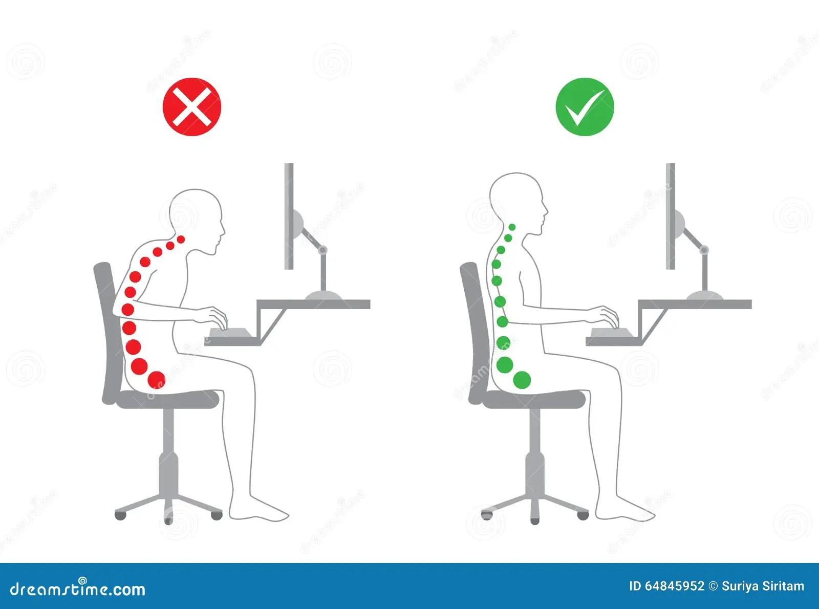 Posture Correcte Dans Le Travail Se Reposant Illustration