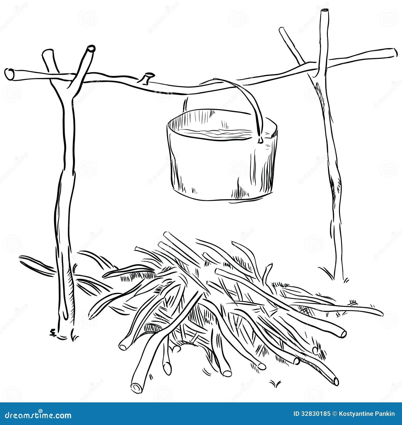 Pot Over The Fire Cartoon Vector