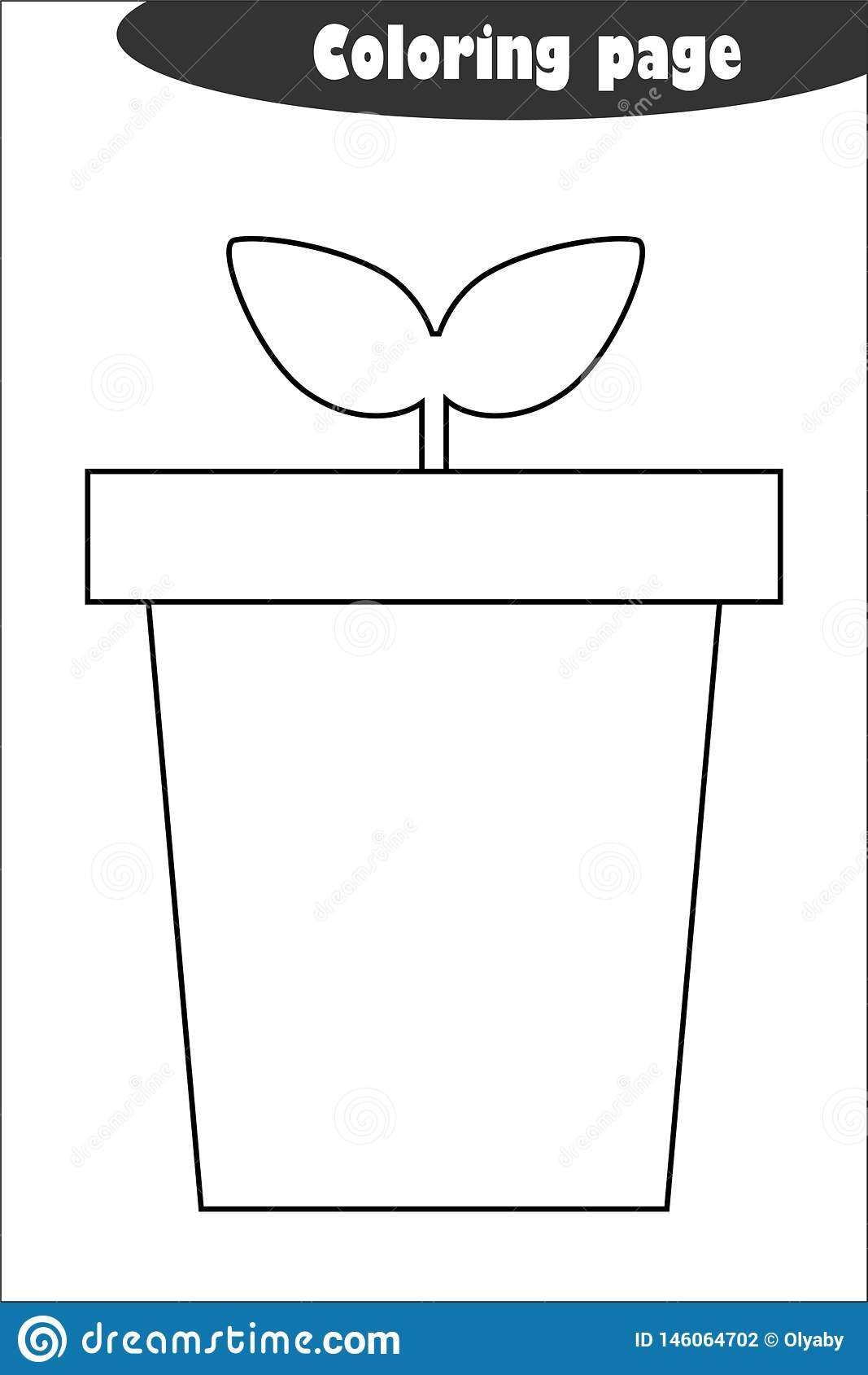 Pot With Plant In Cartoon Style Coloring Page Spring