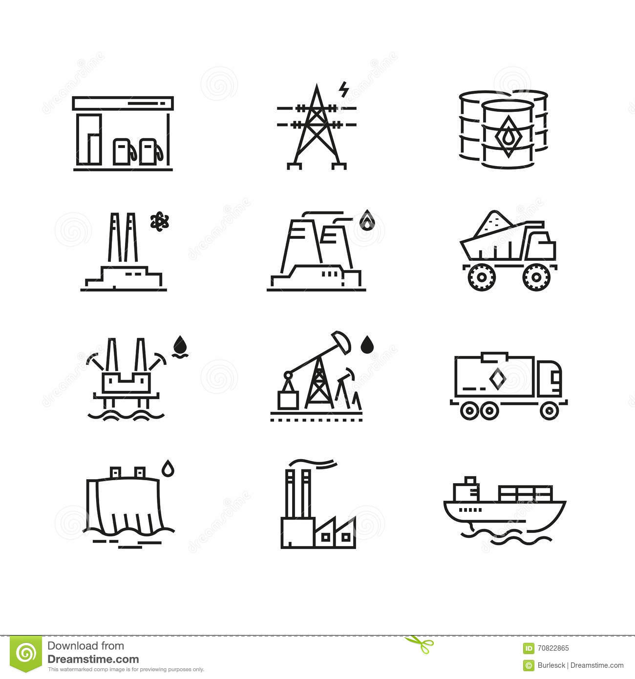 Power Industry Generations Vector Line Icons Stock Vector