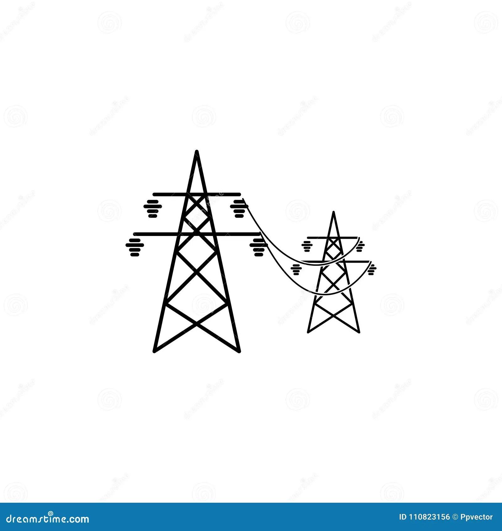 Power Lines Icon Symbol Stock Illustration Illustration