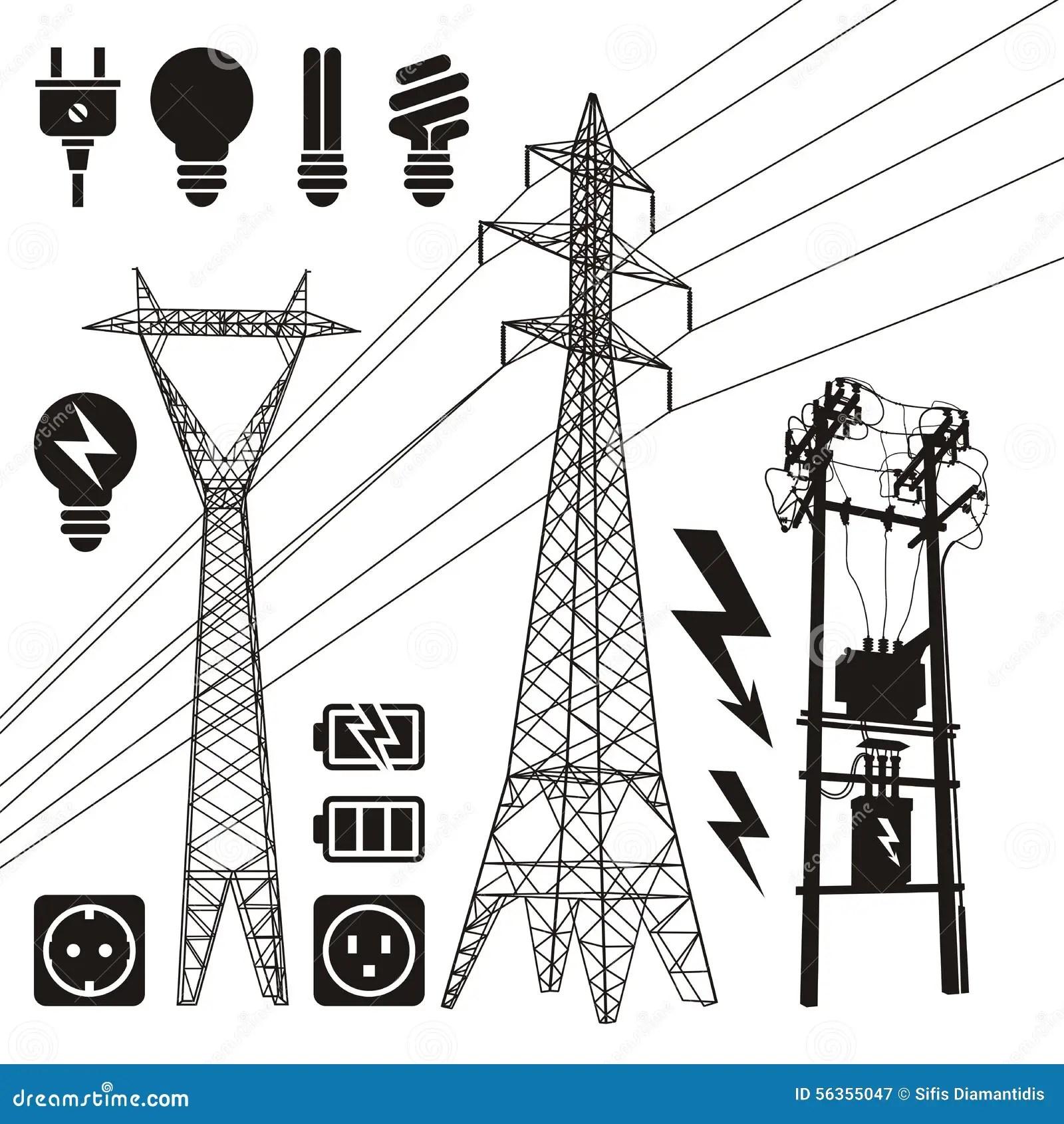 Power Lines Stock Vector