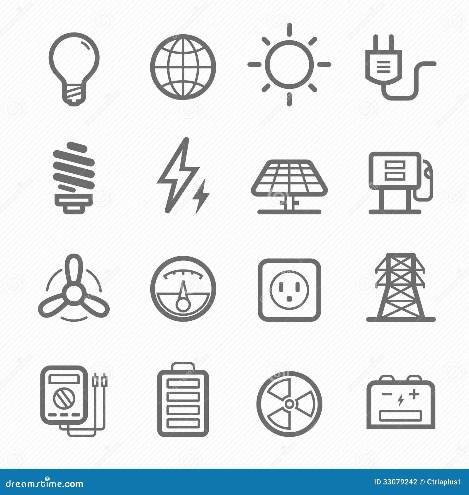 Power Symbol Line Icon Set Stock Photography