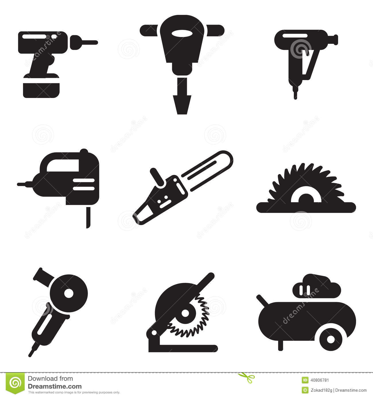 Power Tool Icons Stock Vector