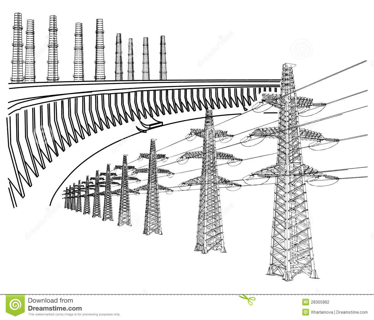Power Transmission Line Stock Vector Image Of Industrial