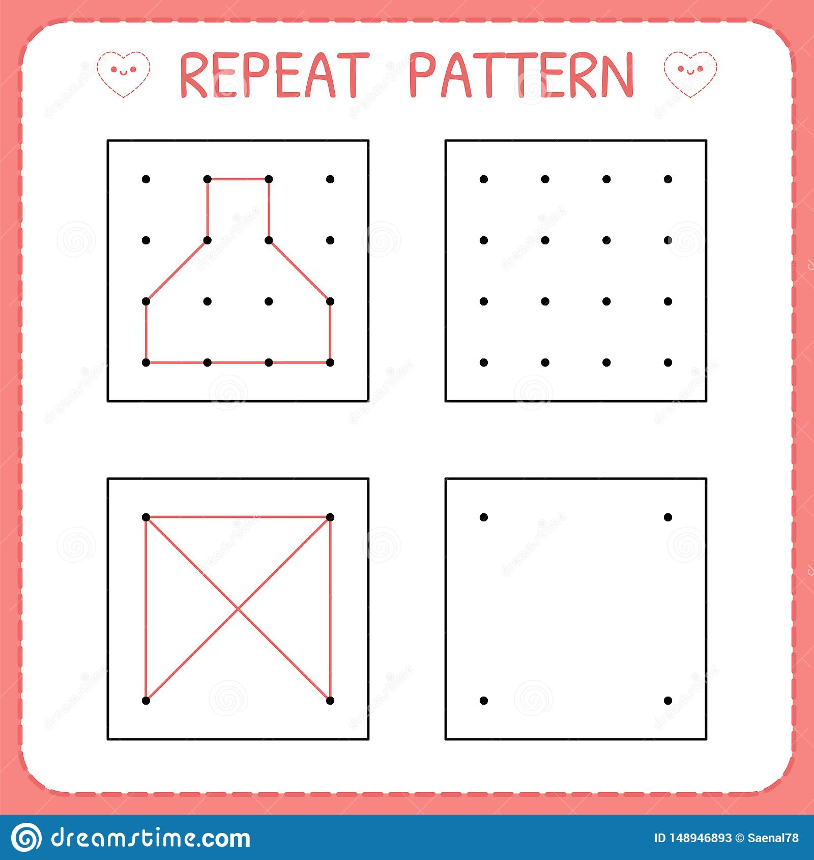 Repeat Pattern Working Pages For Children Kindergarten