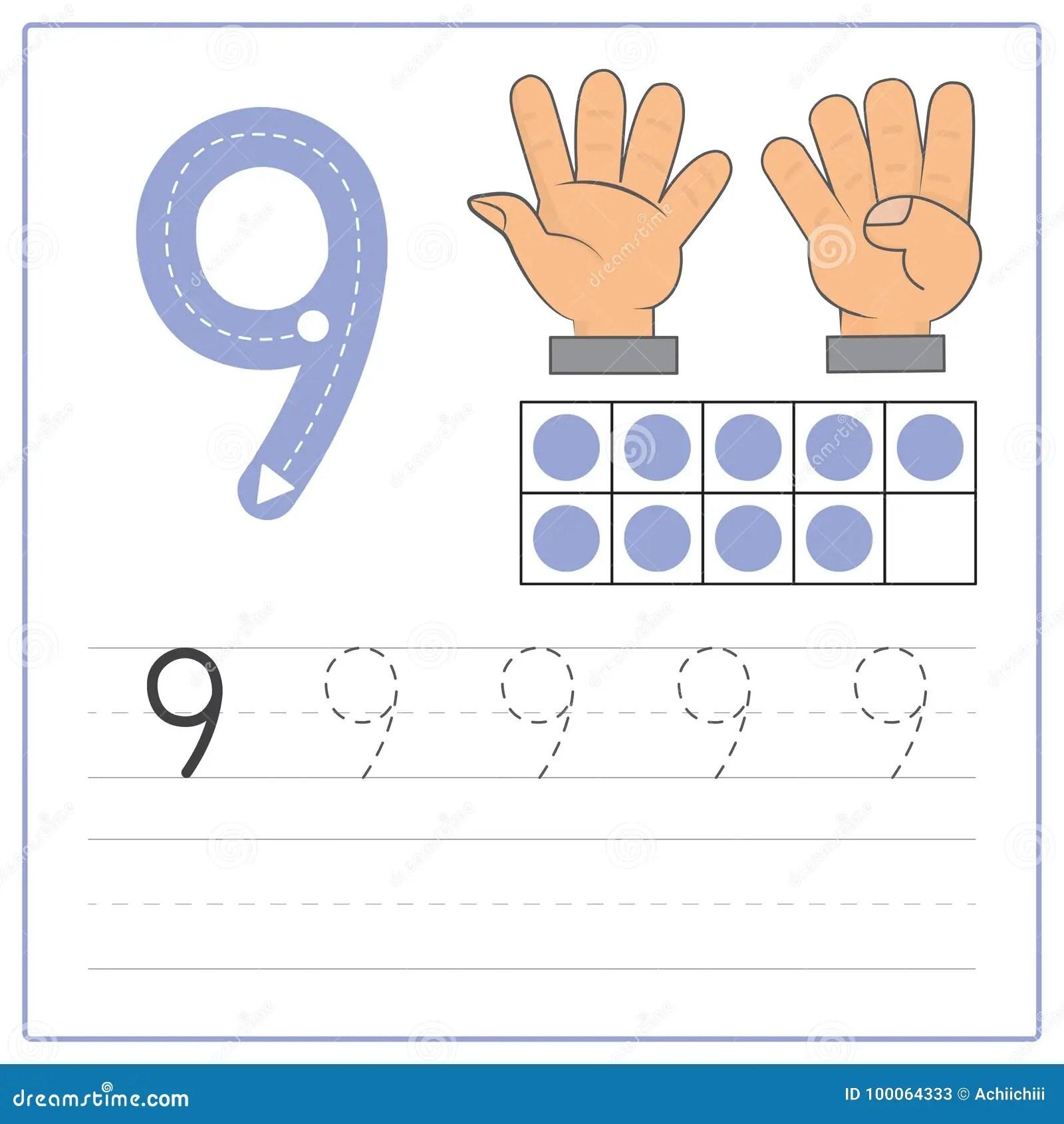 Practica 9 De La Escritura Del Numero Ilustracion Del