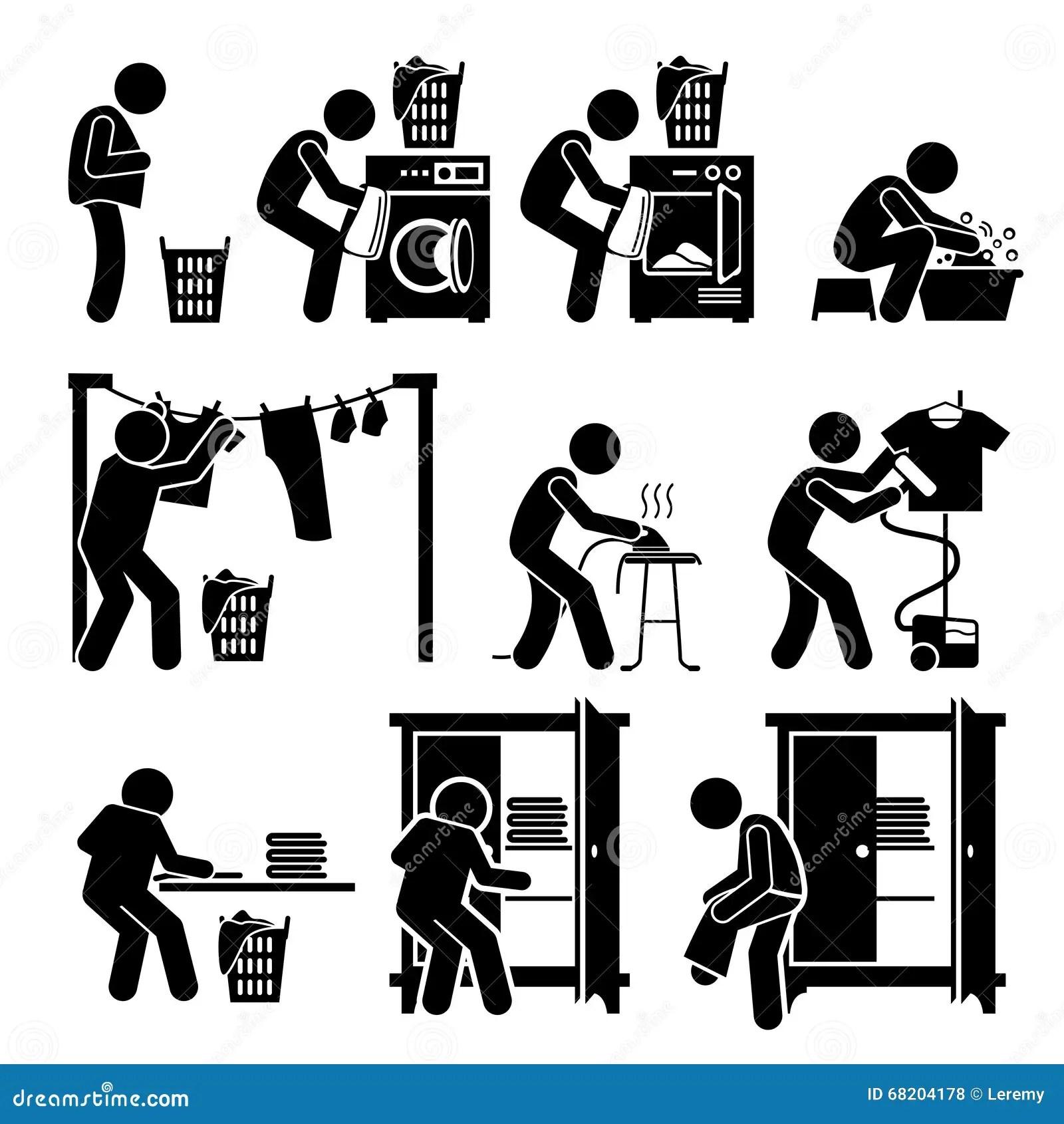Pralni Pracy Myje Odzie Owego Clipart Ilustracja Wektor