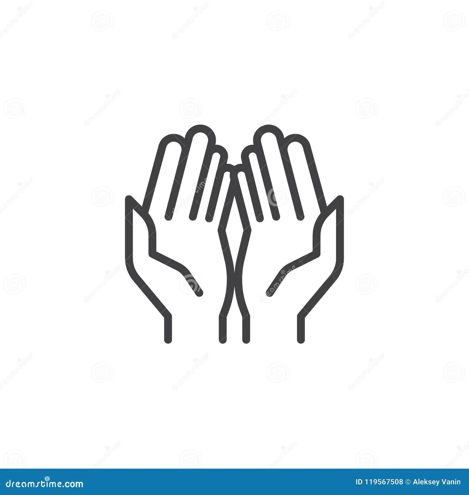 Prayer Hands Outline Icon Stock Vector Illustration Of