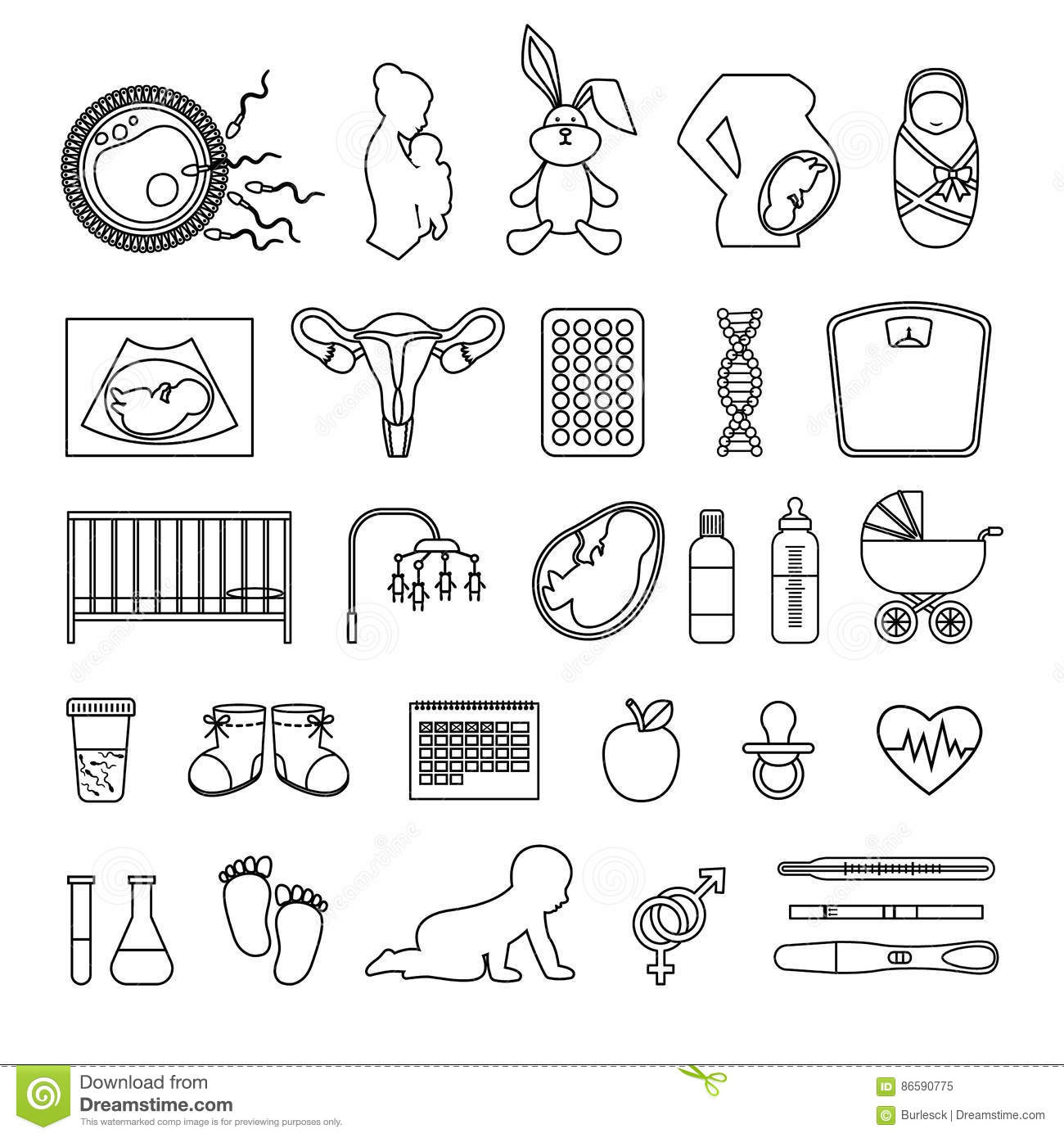Pregnant Woman And Pregnancy Line Icons Outline Body