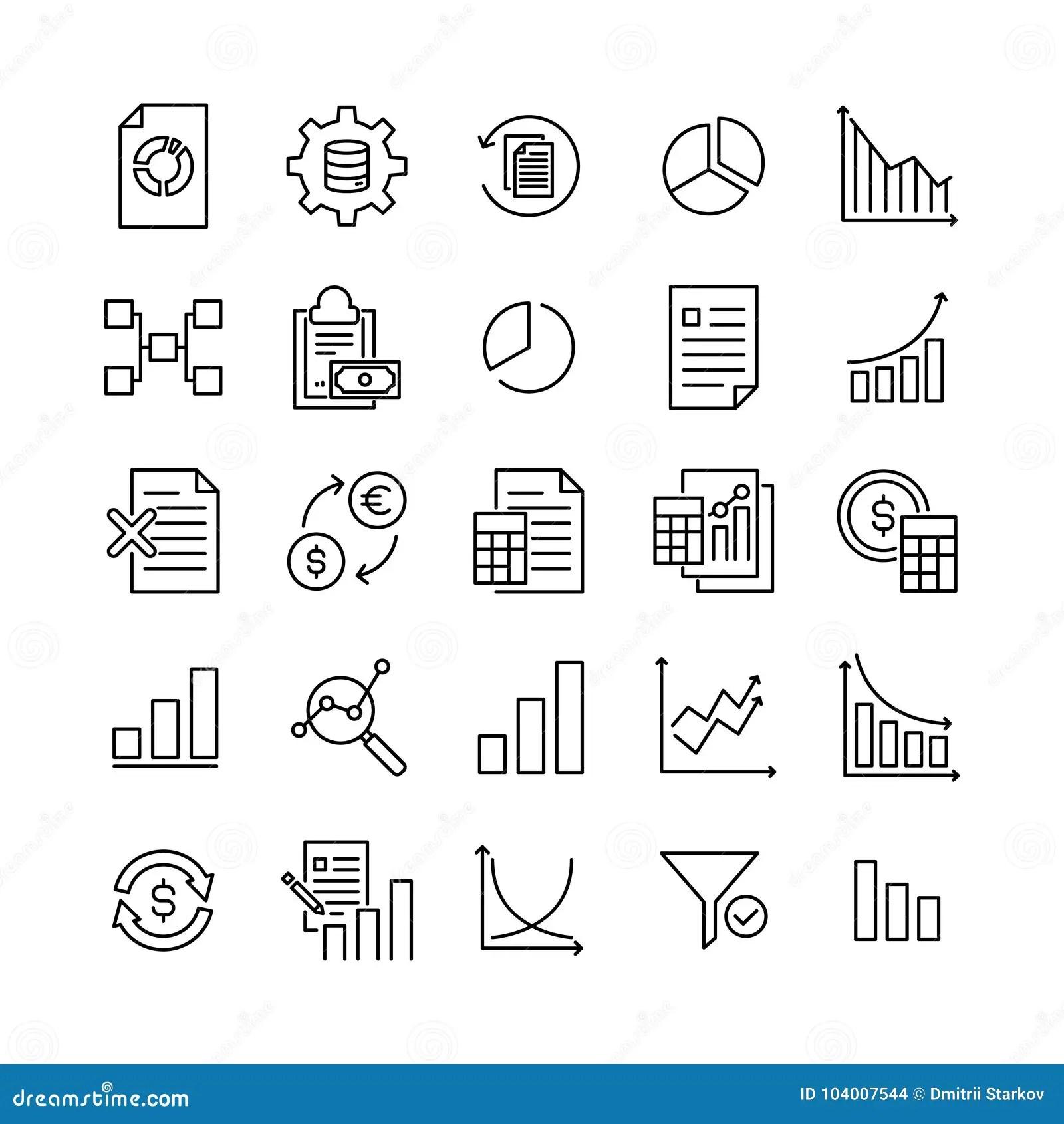Premium Set Of Big Data Line Icons Stock Vector