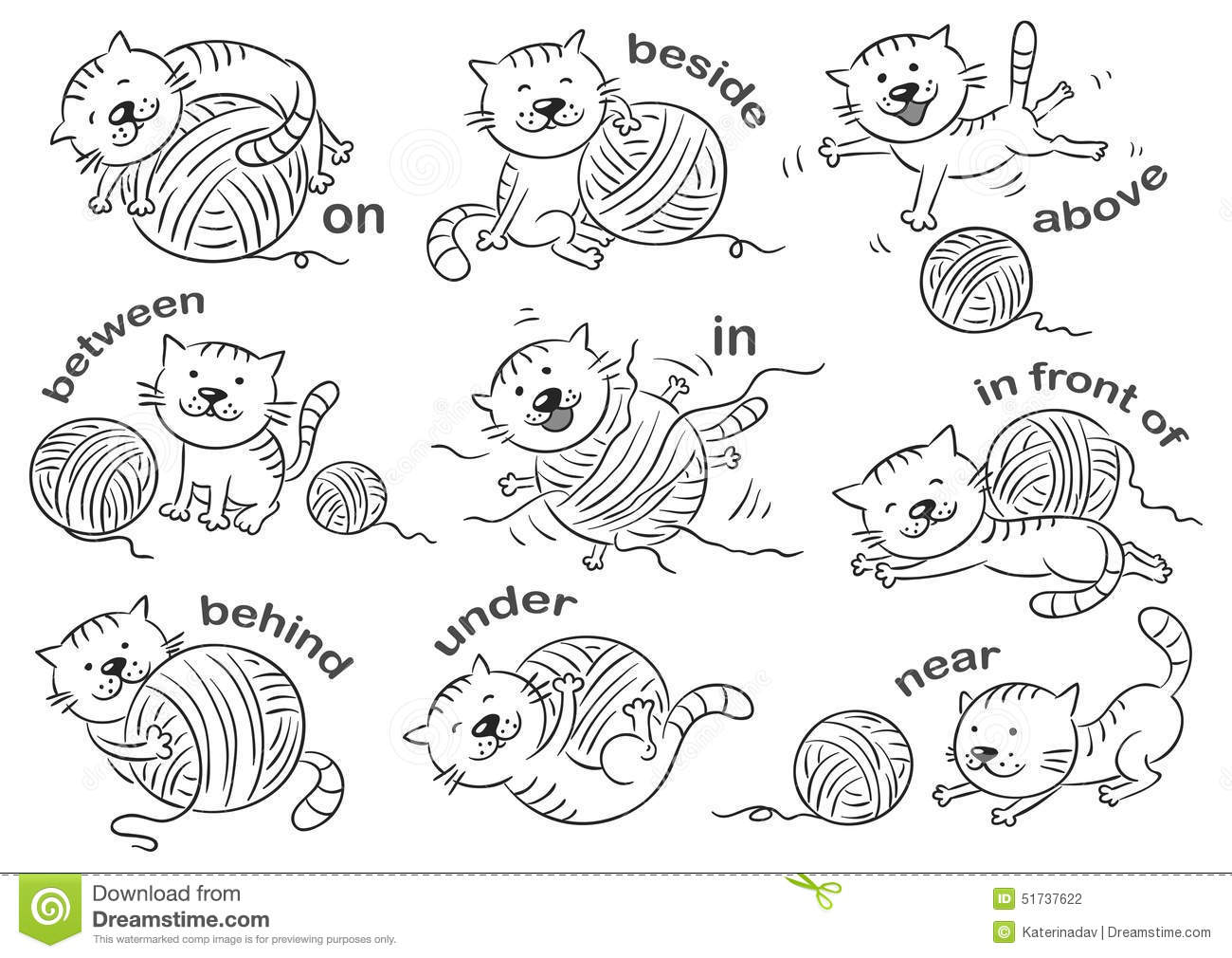 Cartoon Black And White Preposition Sketch Coloring Page