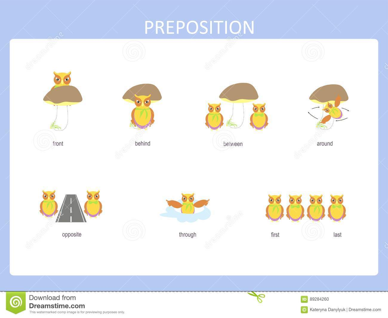 Preposition Of Motion For Preschool Worksheet Stock