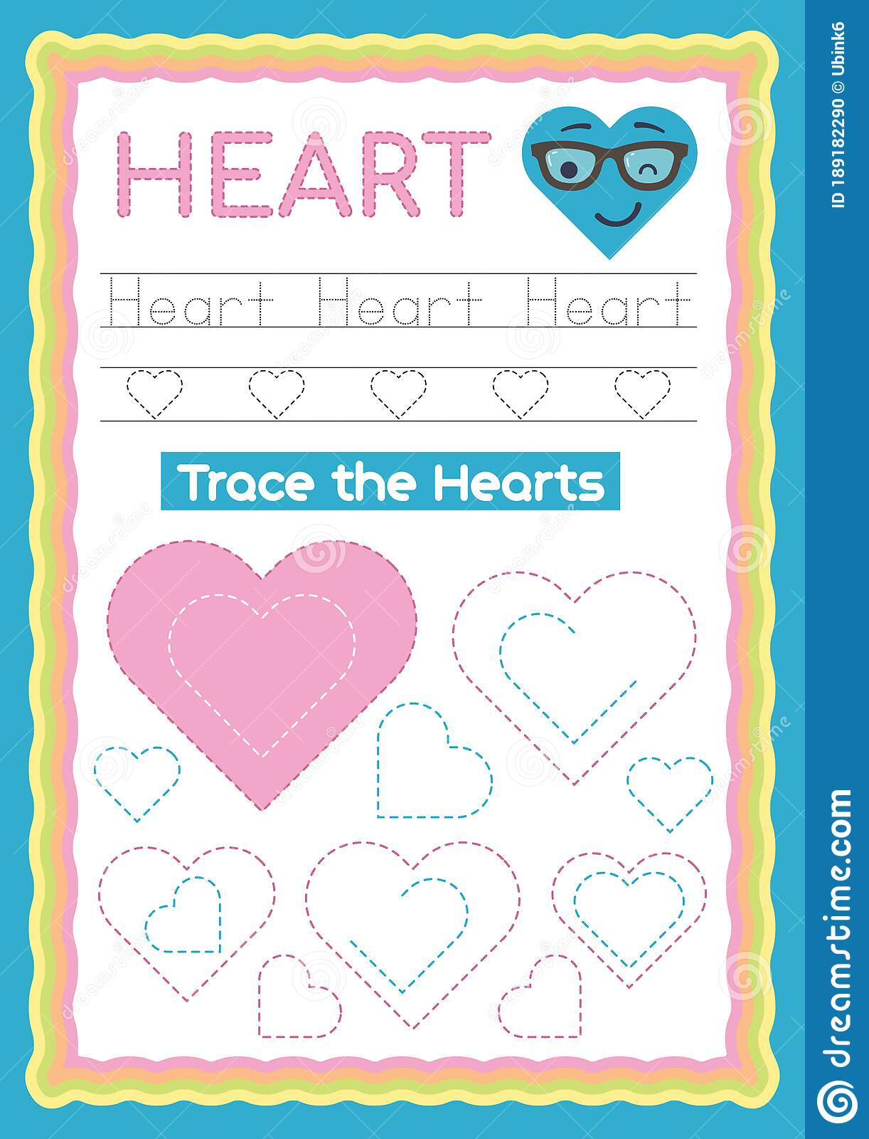 Preschool Colorful Heart Shape Tracing And Writing Daily