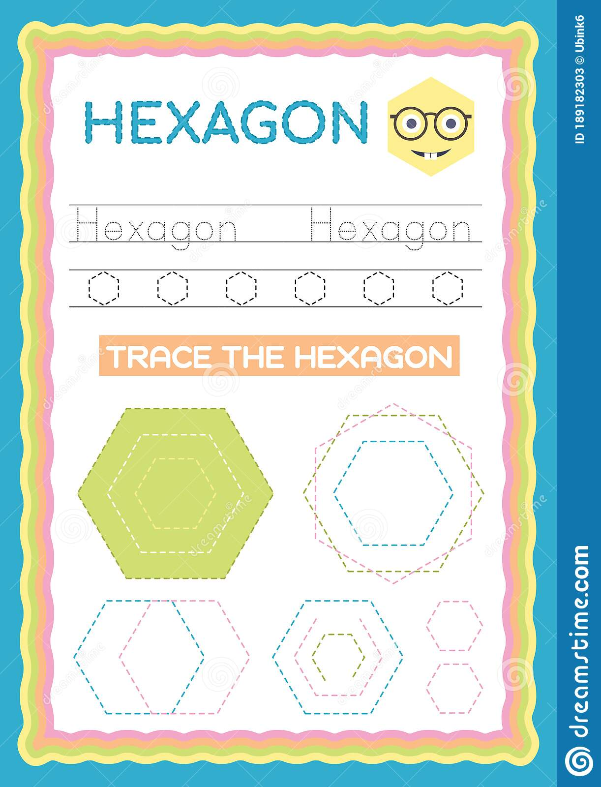 Preschool Colorful Hexagon Shape Tracing And Writing