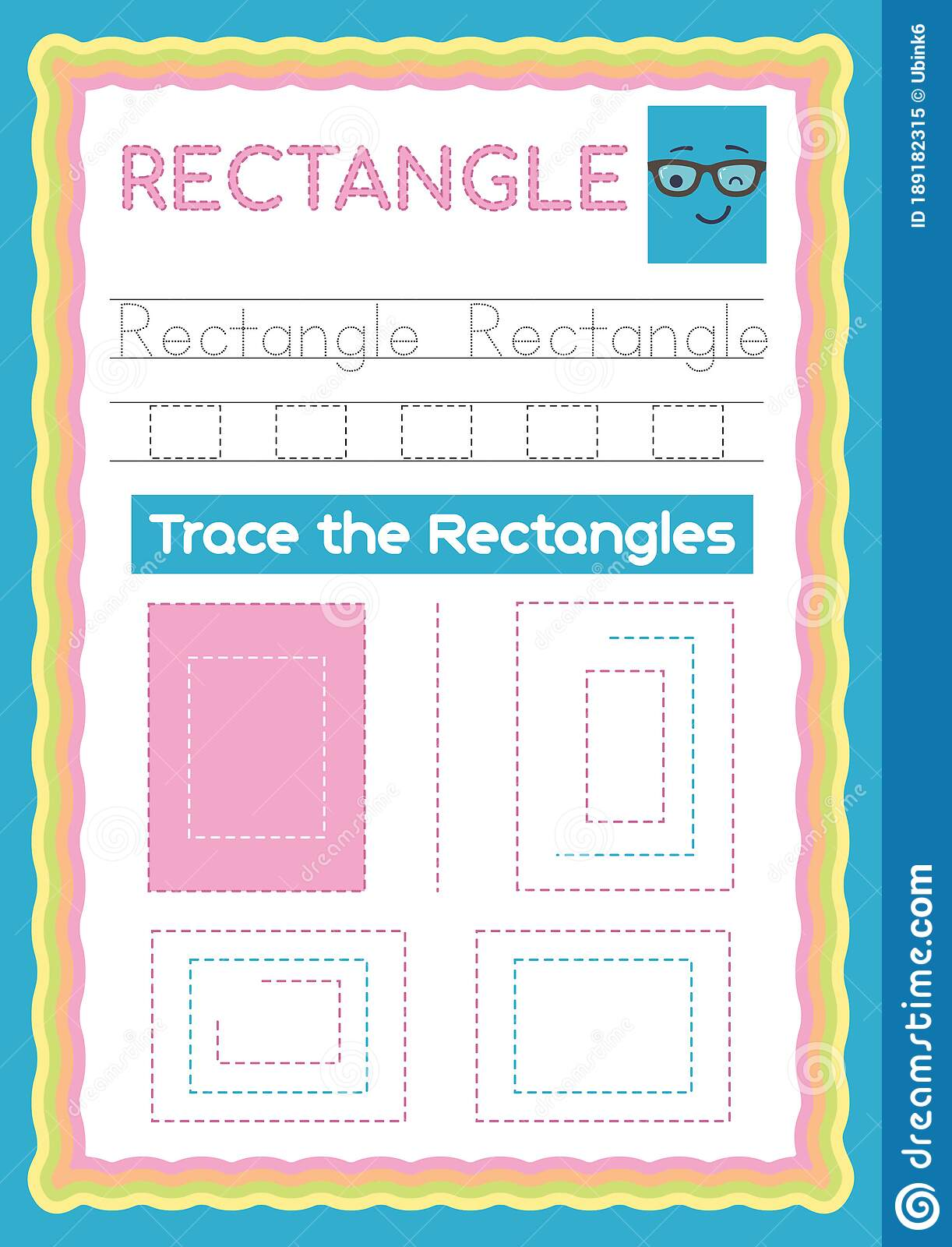 Preschool Colorful Rectangle Shape Tracing And Writing