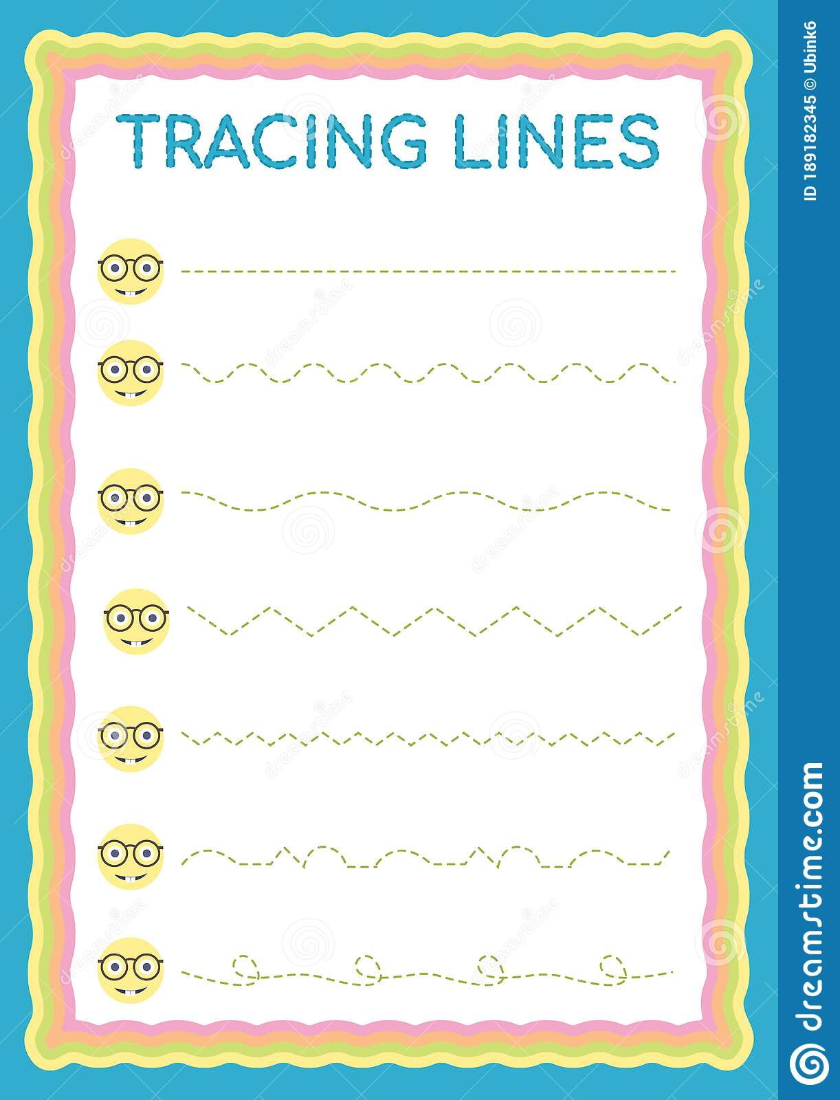 Preschool Colorful Tracing Lines Daily Printable A4