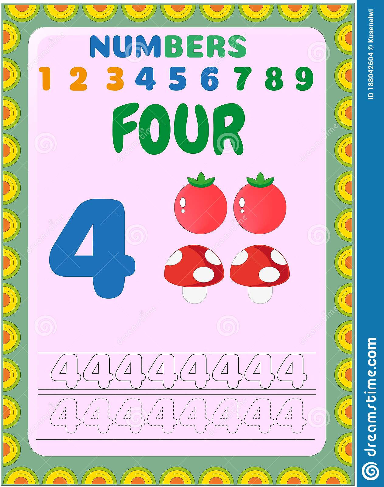 Preschool Toddler Math With Tomato And Mushroom Design