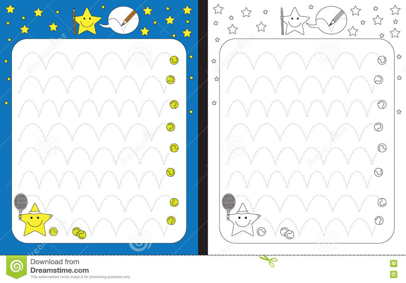 Preschool Worksheet For Practicing Fine Motor Skills Stock