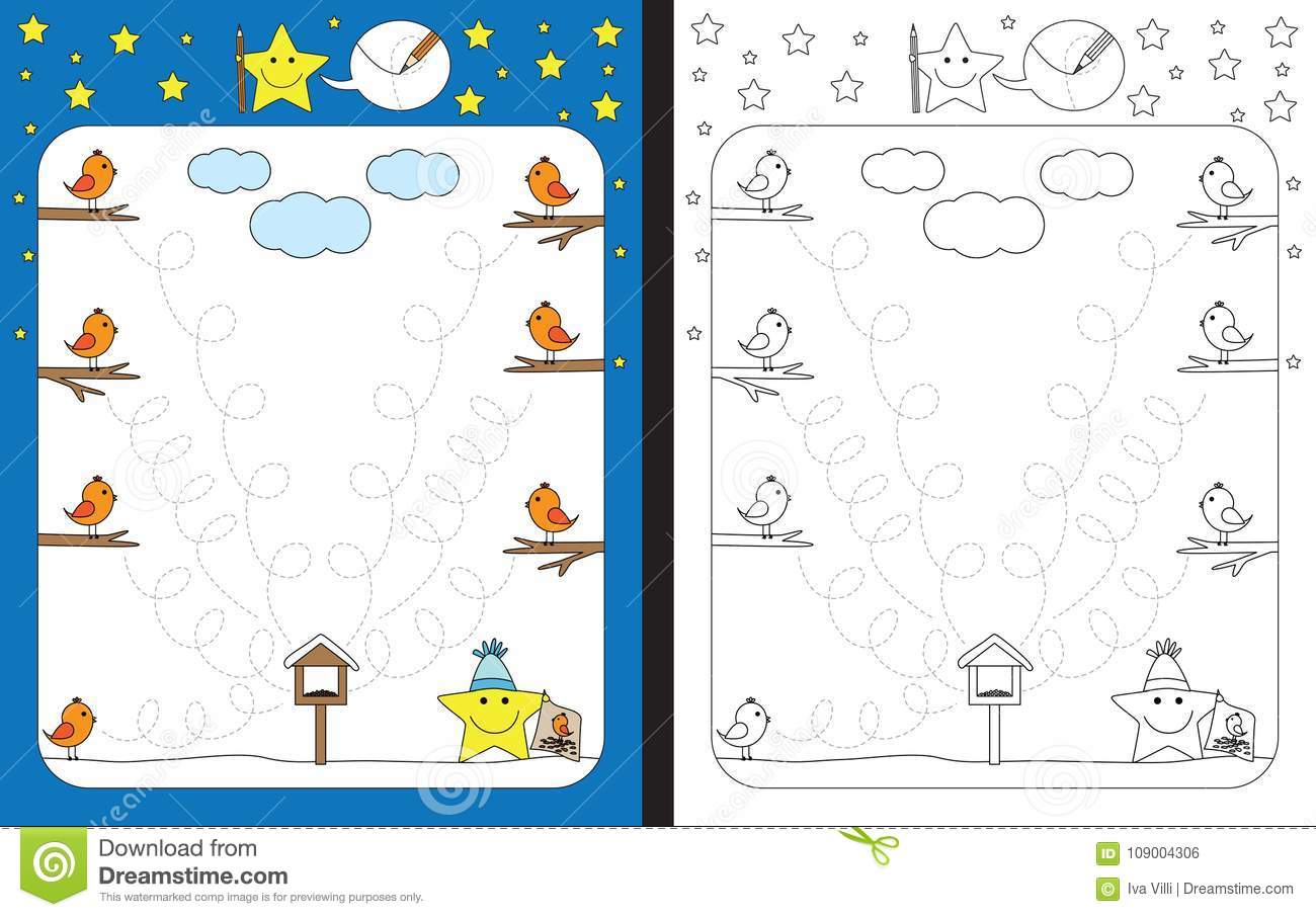 Preschool Worksheet Stock Vector Illustration Of Bird