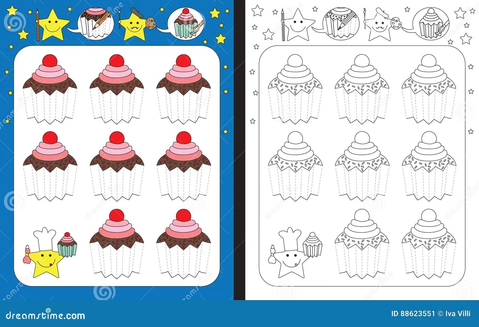Preschool Worksheet Stock Vector Image Of Contour Cupcake