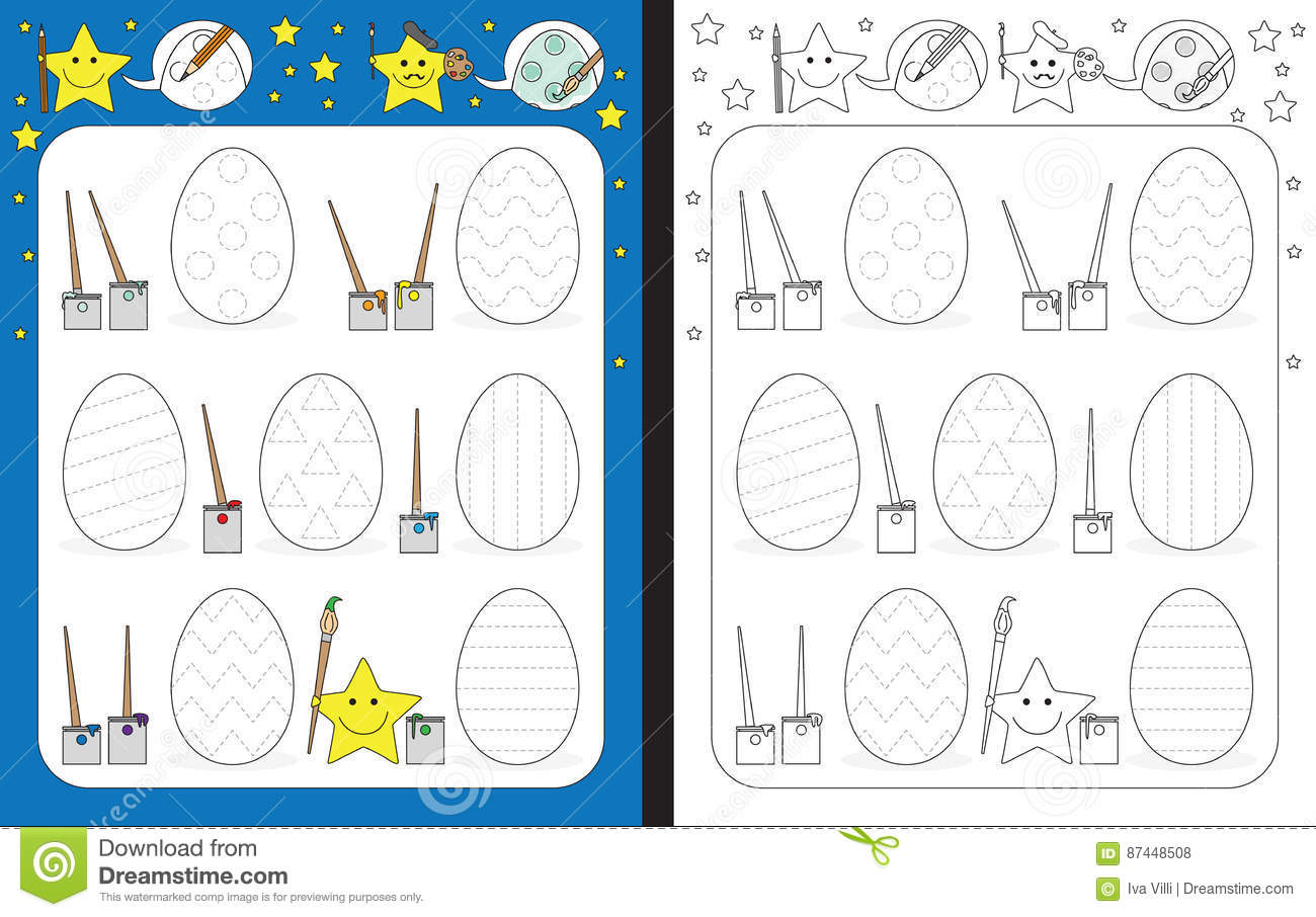 Preschool Worksheet Stock Vector Illustration Of Tracing