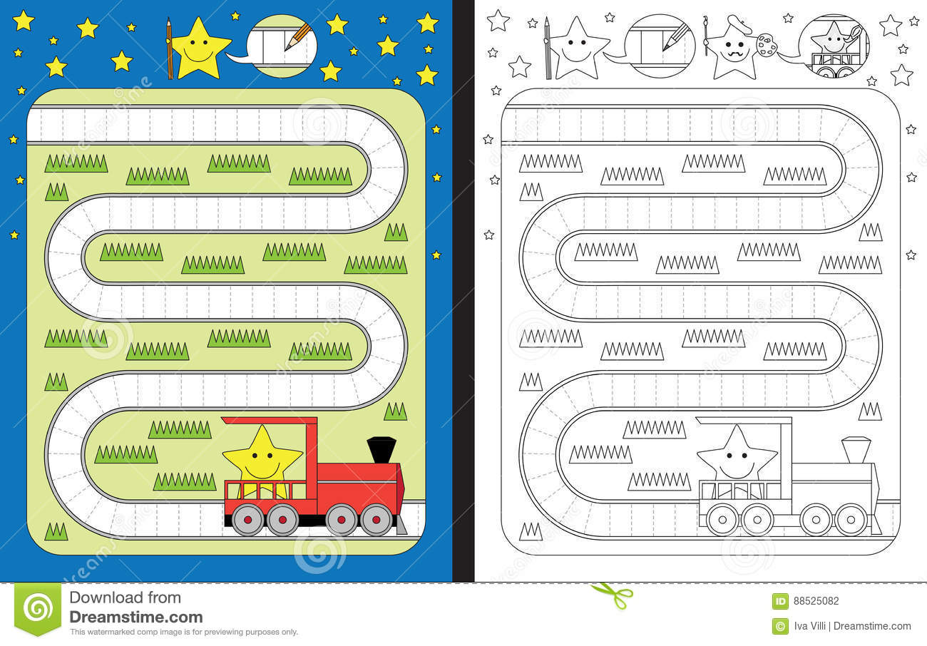 Preschool Worksheet Stock Vector Illustration Of Motor