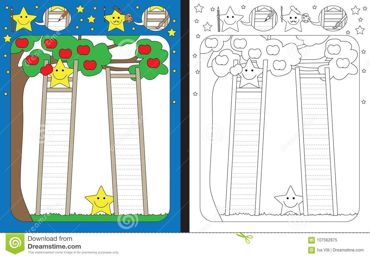 Preschool Worksheet Stock Vector Illustration Of Ladder